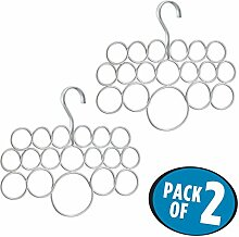 mDesign 2er Pack Schalbügel - für die organisierte Aufbewahrung von Schals und Tüchern in Ihrem Kleiderschrank - ideal als Schalhalter und Schalorganizer - je 18 Schlaufen - Farbe: Silber