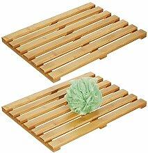 mDesign 2er Set Bambusmatte – rechteckiger