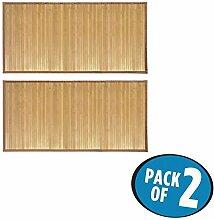 mDesign 2er-Set Duschvorleger groß – stilvolle Badematte aus Bambus – wasserabweisende Duschmatte für den Einsatz vor der Dusche, Badewanne oder in der Küche – natur