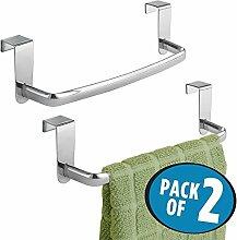 mDesign 2er-Set Geschirrtuchhalter für die Küche – Handtuchhalter Küche zum Einhängen in die Küchenschranktür – Badetuchhalter aus Metall – silberfarben