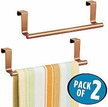 mDesign 2er-Set Geschirrtuchhalter – Handtuchhalter Küche zum Einhängen in die Küchenschranktür – Badetuchhalter aus Metall – kupfer