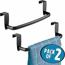 mDesign 2er-Set Geschirrtuchhalter – Handtuchhalter Küche zum Einhängen in die Küchenschranktür – Badetuchhalter aus Metall – mattschwarz