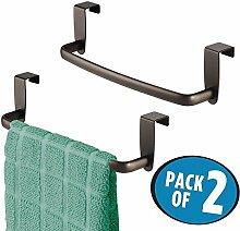 mDesign 2er-Set Geschirrtuchhalter - Handtuchhalter Küche zum Einhängen in die Küchenschranktür - Badetuchhalter aus Metall - bronze