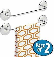 mDesign 2er-Set Handtuchhalter ohne Bohren – selbstklebende Handtuchstange aus poliertem Edelstahl – perfekt als Geschirrtuchhalter oder für Handtücher – silberfarben