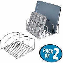 mDesign 2er-Set Küchen Organizer – Geschirrablage mit 3 Fächern für mehr Ordnung in der Küche – Geschirrhalter aus verchromtem Metall für Schneidebretter, Backformen etc. – silberfarben