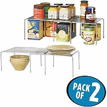 mDesign 2er-Set Küchenregal – praktische Geschirrablage für mehr Abstellfläche – ausziehbares Teleskopregal aus Metall