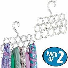 mDesign 2er-Set Schalhalter ? Schalbügel und Aufbewahrung für Tücher, Krawatten, Gürtel ? Accessoires ohne Ziehfäden aufbewahren ? 16 Ringe ? durchsichtig