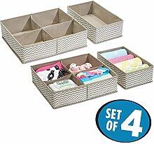 mDesign 4er Aufbewahrungsboxen Set – Aufbewahrungsboxen Kunststoff – Kinderschrank Schubladen Organizer für Kleidung, Kosmetik, Windeln, Tücher, Lotion, Medikamente – taupe/natur