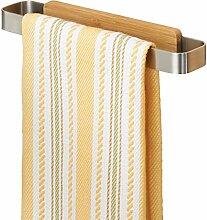 mDesign AFFIXX Handtuchhalter ohne Bohren – ideal als Geschirrtuchhalter für die Küche – praktische, selbstklebende Handtuchstange – einfache Montage