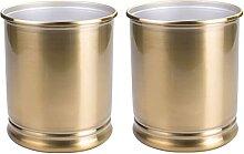 mDesign Dekorativer Metall-Mülleimer, rund,