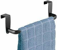 mDesign Geschirrtuchhalter – zum Einhängen in die Küchenschrank-Tür – Handtuchhalter ohne Bohren auch als Badetuchhalter geeignet – mattschwarz