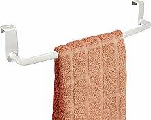 mDesign Geschirrtuchhalter – zum Einhängen über die Küchenschrank-Tür – Handtuchhalter ohne Bohren – auch als Handtuchstange im Bad geeignet – weiß