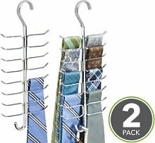 mDesign Gürtelhalter und Krawattenhalter – vertikale Aufbewahrung mit 17 Haken für Gürtel, Krawatten, Schals etc. im Kleiderschrank – chrom - 2er Se