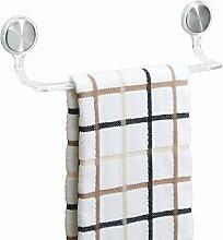 mDesign Handtuchstange selbstklebend - Geschirrtuchhalter Küchenschrank - Handtuchhalter ohne Bohren - Länge: 30,5 cm, Farbe: transparen