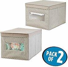 mDesign Kinderschrank Organizer im 2er-Set atmungsaktive Aufbewahrungsboxen mit Fischgrätmuster – zur Spielzeugaufbewahrung, für Babysachen und Windeln – taupe/Natur