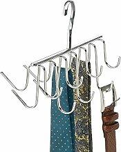 mDesign Krawattenbügel mit 14 Haken - Krawattenhalter & Gürtelhalter in einem - praktische Aufhängung am Kleiderhaken - Krawatten-Aufbewahrung leicht gemacht - Farbe: chrom