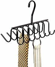 mDesign Krawattenbügel mit 14 Haken - Krawattenhalter & Gürtelhalter in einem - praktische Aufhängung am Kleiderhaken - Krawatten-Aufbewahrung leicht gemacht - Farbe: mattschwarz