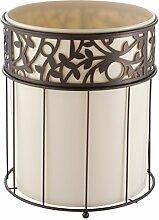 mDesign Mülleimer Bad – hochwertiger Papierkorb Büro – Design Abfalleimer aus Stahl mit herausnehmbarem Kunststoffeinsatz – vanille / bronze