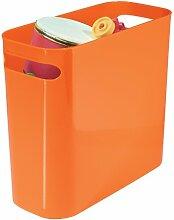 mDesign Mülleimer mit Griffen ? ideal als Abfalleimer ? einfacher Papierkorb Büro ? robuster Kunststoff ? für Küche, Bad und Büro ? orange