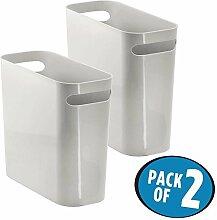 mDesign Mülleimer mit Griffen - ideal als Abfalleimer oder als einfacher Papierkorb - robuster Kunststoff - für Küche, Bad und Büro - modernes Design - hellgrau - 2er Se