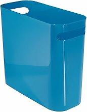 mDesign Mülleimer mit Griffen - ideal als Abfalleimer oder als einfacher Papierkorb - robuster Kunststoff - für Küche, Bad und Büro - modernes Design - blau