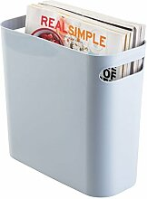 mDesign Mülleimer mit Griffen - ideal als Abfalleimer oder als einfacher Papierkorb - robuster Kunststoff - für Küche, Bad und Büro - modernes Design - schieferblau