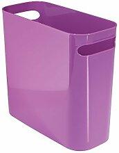 mDesign Mülleimer mit Griffen - ideal als Abfalleimer oder als einfacher Papierkorb - robuster Kunststoff - für Küche, Bad und Büro - modernes Design - viole