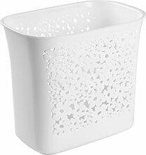 mDesign Mülleimer mit kleinen Löchern - ideal als Abfalleimer oder als einfacher Papierkorb - robuster Kunststoff - für Küche, Bad und Büro - modernes Design und 5,6 Liter Volumen - Farbe: weiß