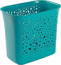 mDesign Mülleimer mit kleinen Löchern - ideal als Abfalleimer oder als einfacher Papierkorb - robuster Kunststoff - für Küche, Bad und Büro - modernes Design und 5,6 Liter Volumen - Farbe: aquamarin