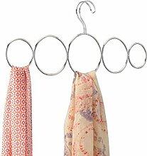 mDesign Schalbügel - für die organisierte Aufbewahrung von Schals und Tüchern in Ihrem Kleiderschrank - ideal als Schalhalter und Schalorganizer - 5 Schlaufen - Farbe: Silber (chromiert)