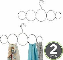 mDesign Schalbügel - für die organisierte Aufbewahrung von Schals und Tüchern in Ihrem Kleiderschrank - ideal als Schalhalter und Schalorganizer - 5 Schlaufen - Farbe: Silber (chromiert) - 2er-Se