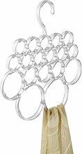 mDesign Schalbügel - für die organisierte Aufbewahrung von Schals und Tüchern in Ihrem Kleiderschrank - ideal als Schalhalter und Schalorganizer - 18 Schlaufen - Farbe: transparen