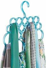 mDesign Schalbügel - ideal als Schalhalter, Schalorganizer, Krawattenhalter oder Gürtelhalter - 18 Schlaufen - Farbe: Blau