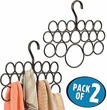 mDesign Schalhalter – 2er-Pack Schalbügel und Aufbewahrung für Tücher, Krawatten, Gürtel – Accessoires ohne Ziehfäden aufbewahren – 18 Ringe – bronzefarben