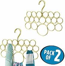 mDesign Schalhalter 2er-Set – Schalbügel und Aufbewahrung für Tücher, Krawatten, Gürtel – Accessoires ohne Ziehfäden aufbewahren – 18 Ringe – Gold/Brass