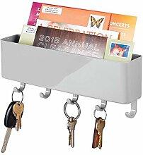 mDesign Schlüsselbrett mit Ablage aus Kunststoff