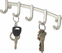 mDesign Schlüsselleiste – ordentliche Aufbewahrung von Schlüssel, Schlüsselbänder, Hundeleinen, Mützen etc. an fünf Haken – Schlüsselhalter in sehr elegantem Design - Farbe: Silber