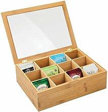 mDesign Teebox aus Holz – Teekiste mit 12