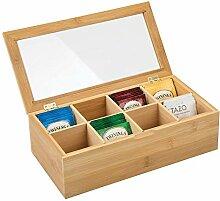 mDesign Teebox aus Holz – Teekiste mit 8