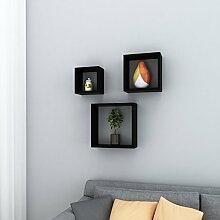 MDF Wandregal 3er Set Schweberegale Belastbarkeit 15kg Höhe 9 cm, 25/20/15 cm Wandboard Lagerregalset Cube Regal (schwarz)