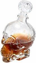 MDLUU Weindekanter, Glas, Totenkopf-Dekanter,