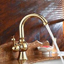 MDRW-Badezimmer Accessoires WasserhahnGold Alle Kupfer Warmes Und Kaltes Wasser Waschbecken Tippen Im Europäischen Stil Tabelle Waschbecken Waschbecken Einloch Schwenken Hahn