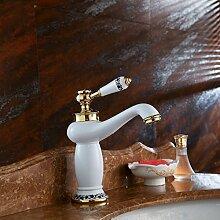 MDRW-Badezimmer Accessoires WasserhahnPorzellan Weiß Gold Kupfer Porzellan Einzelne Bohrung Mischen Tippen