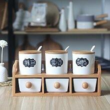 MDRW-Haushalt Küche Accessoires Die Küche In Der Unteren Schublade Typ Würzen Keramik Gewürze Sechs Sätze Mit Salz Pfeffer Würzen Flasche Eine