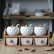 MDRW-Haushalt Küche Accessoires Die Küche In Der Unteren Schublade Typ Würzen Keramik Gewürze Sechs Sätze Mit Salz Pfeffer Würzen Flasche E