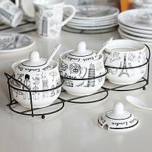 MDRW-Haushalt Küche Accessoires Die Oberen Und Unteren Art Keramik Topf Würzen Würzen Von Topf Bedeckt Der Dreiteiligen Anzug Und Küche Gewürze E