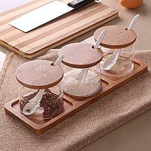MDRW-Haushalt Küche Accessoires Glas Gewürze Topf Dreiteiligen Anzug Küchengeräte Gewürze Haushalt Storage Seasoning Flasche