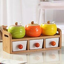 MDRW-Haushalt Küche Accessoires Glas Keramik Küche Würze Flaschen Dosen Bambus Holz Würze Flasche Mononatriumglutamat Salz C