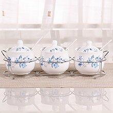 MDRW-Haushalt Küche Accessoires Keramik Gewürze Gewürz Dosen Dosen Versiegelt Würzen Haushalt Küche Abstellraum Flaschen Drei Anzug E