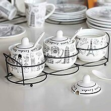 MDRW-Haushalt Küche Accessoires Keramik Gewürze Topf 3 Stück Haushalt Seasoning Flasche Legen Geschirr Gewürze Topf